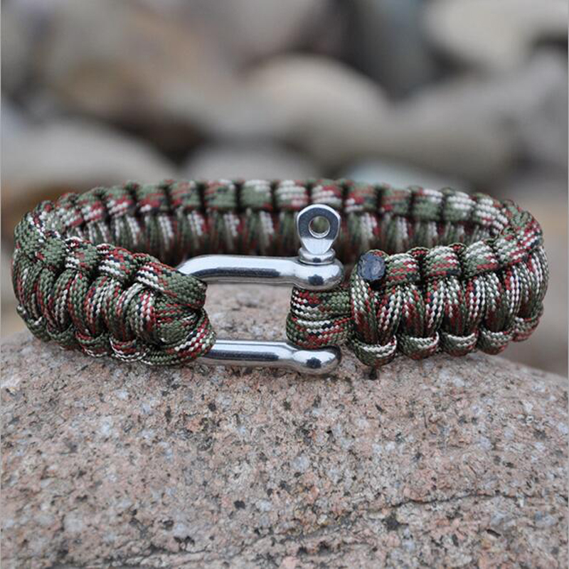 Outdoor Camping Paracord Parachute Rope/Cord Emergency Survival Bracelet  With  With Adjustable S/S Shackle Sport Charms For Men
