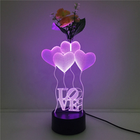 2017 USB nachtlampje 7 verkleuring LED LIEFDE ballon bloemschikken 3D licht touch acryl lamp slaapkamer woonkamer verlichting