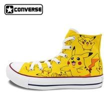 Pokemon Go Pikachu Converse All Star Boys Girls Hand Painted Canvas Shoes Women Men High Top