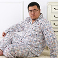 Plus size pajama sets for men sleepwear long-sleeve cotton 2017 spring and autumn male Large lounge set 4XL 5XL