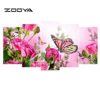 ZOOYA 5D DIY Diamond Embroidery Butterfly Flower 5PCS Diamond Painting Cross Stitch Full Drill Rhinestone Multi