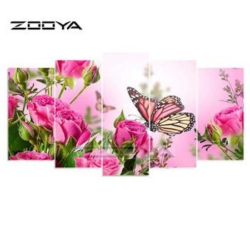 ZOOYA 5D DIY Diamond Embroidery Butterfly&Flower 5PCS Diamond Painting Cross Stitch Full Drill Rhinestone Multi-picture BK266