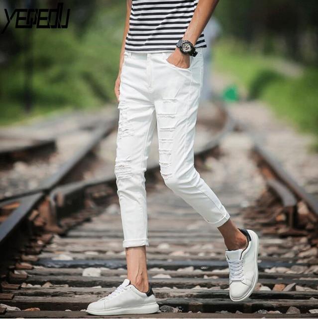 19670747c98 #1403 White/Black Ripped Jeans Men Summer 2018 Elastic Cotton Slim Korean  Mens Skinny Jeans Hole Fashion Denim Jeans Homme