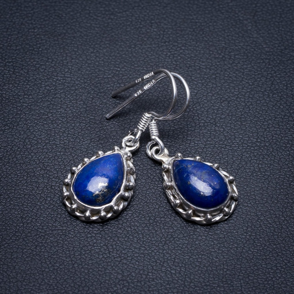 Natural Lapis Lazuli Handmade Mexican 925 Sterling Silver Earrings 1 1/4 S1696Natural Lapis Lazuli Handmade Mexican 925 Sterling Silver Earrings 1 1/4 S1696