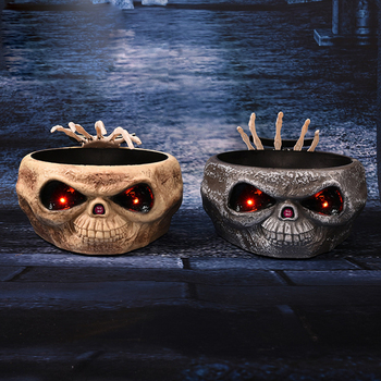 Halloween Prank Props Control Sensor Ghost Hand Fruit Bowl Electric Toy Skull Light Ornaments for Costume Party Halloween Party