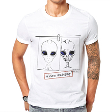 цена 2019 New Arrival Funny Alien T-Shirt Men Personality Saucerman Man T-shirt 100 Cotton O-neck High Quality Men Top Tees XS-3XL