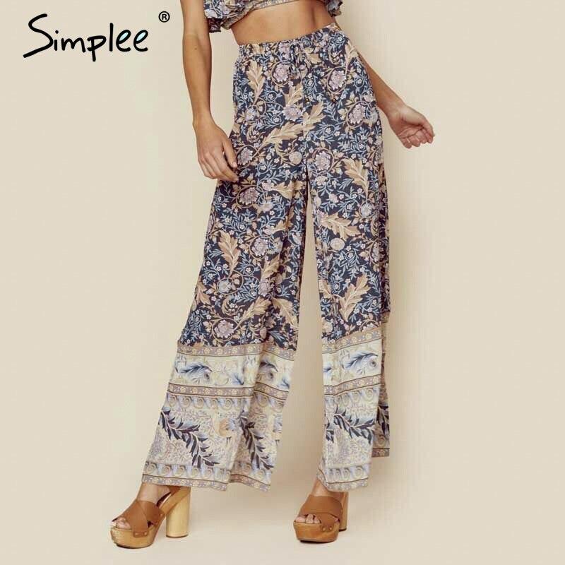 Simplee Bohemian floral print trousers women   wide     leg     pants   Female high waist casual pantalons Vintage femme streetwear palazzo