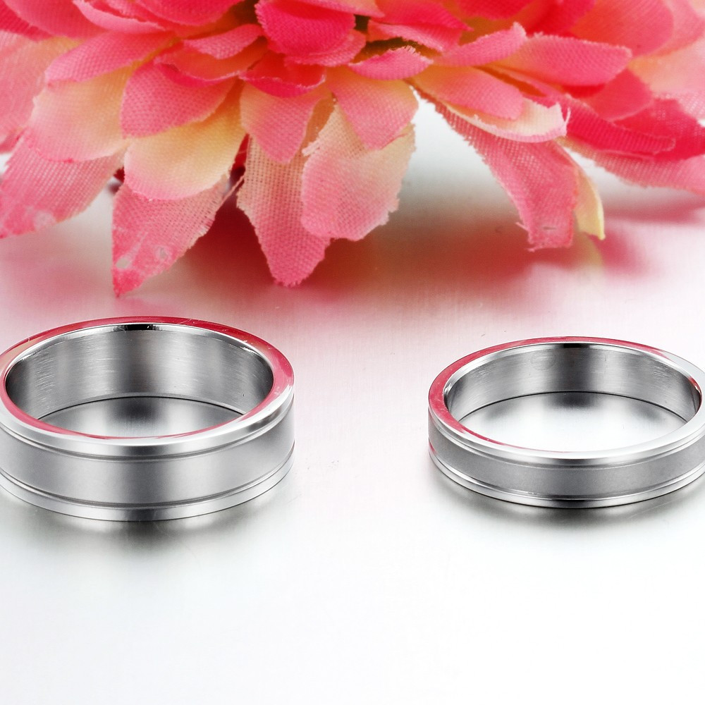 brand jewelry titanium steel rings engraved letters lover wedding ...