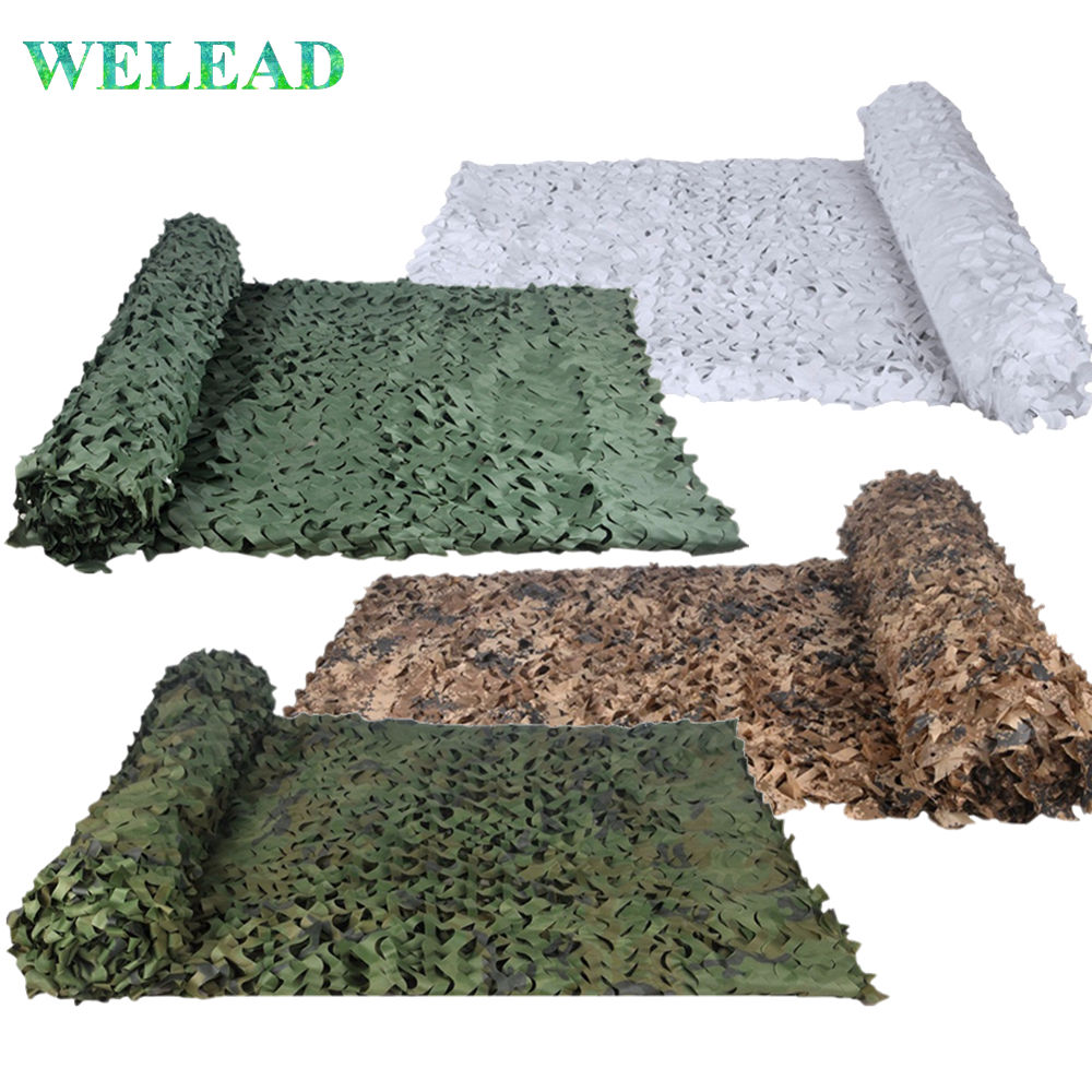 WELEAD Reinforced Camouflage Net 3x3 3x2 Hiding Mesh White Sun Shelter Military Camo Sail Shade For Garden Pergolas Awning Voile
