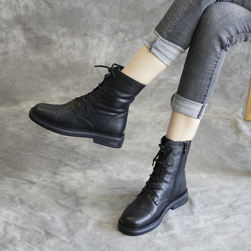 Genuine Leather Women Martin Boots Black Casual Shoes Winter Brand Women Motorcycle Leather Boots 2019 Low