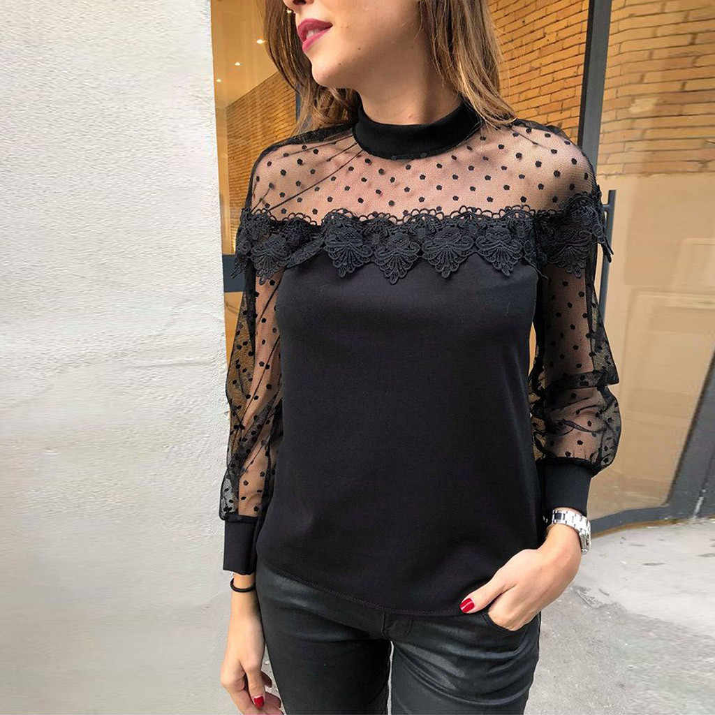 Women Blouse Casual Long Sleeve Hollow Out Solid Lace O Neck Top Blouse Fashion womens tops and blouses camisas mujer 2019 NEW