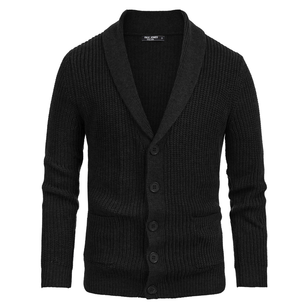 Warm Sweater Coat Men Tops Fall Winter Plain Color Pocket Shaw Lapel Knitted Sweater Long Sleeve Button Closure Thicken Knitwear