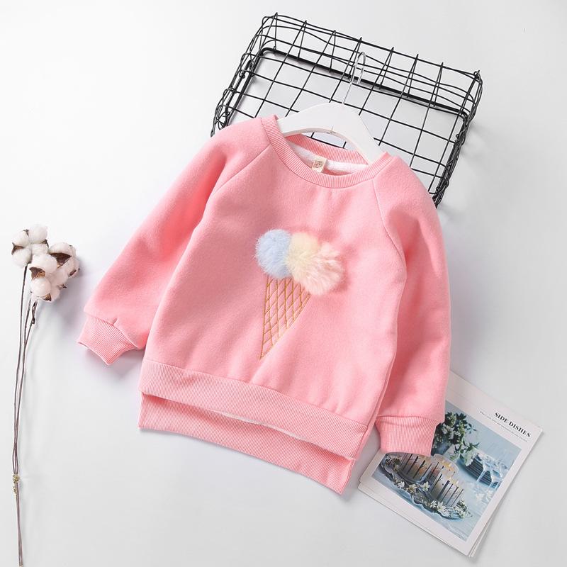 Cute Ball Ice Cream Girls Sweatshirt Autumn Winter Thick Warm Kids Sweatshirts for Girl O-neck Long Sleeve Children Top Clothing 7