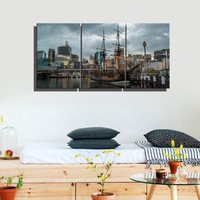 3 Panels Canvas Wall Art Boats In Harbor Seascape And Landscape Wall Art For Living Room Wall Decor Modern Home Decorations Gift