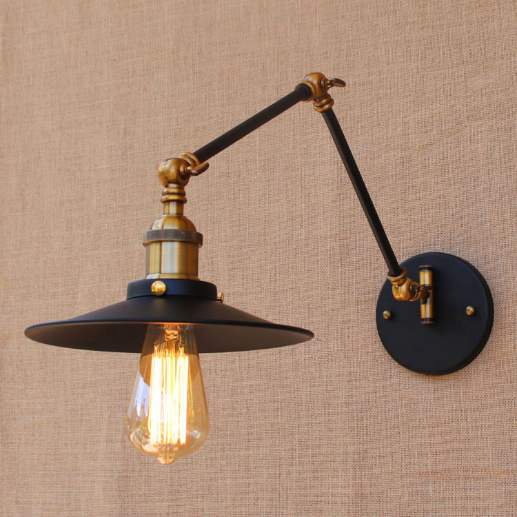 Wall light Edison light bulb swing long arm wall lamp loft American country lighting retro industrial Vintage iron Wall Lamps loft vintage industrial edison wall lamp american retro iron glass birdcage wall light bedroom bedside hall cafe store light