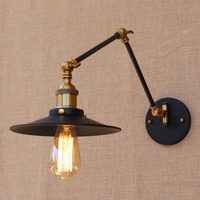 Wall light Edison light bulb swing long arm wall lamp loft American country lighting retro industrial Vintage iron Wall Lamps