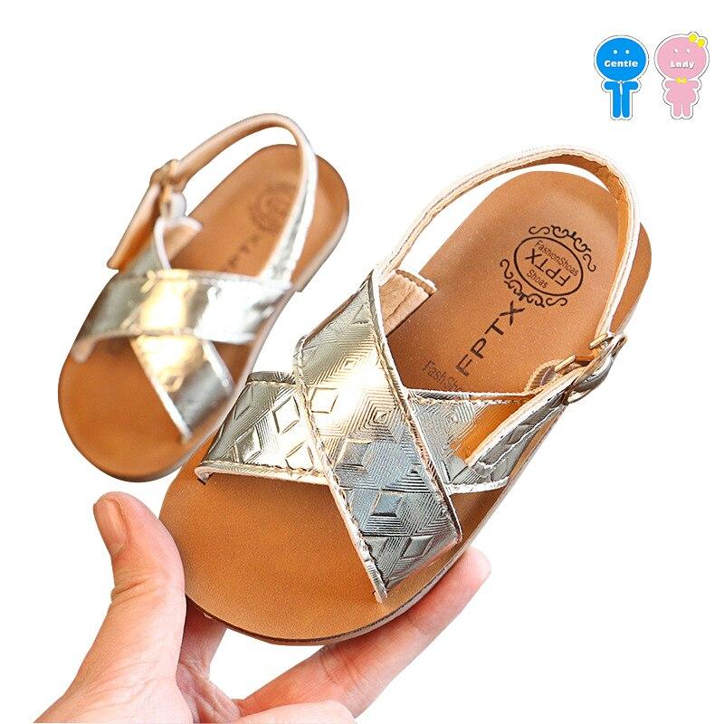 Лето Проверить узор из искусственной кожи для маленьких девочек модные сандалии для мальчиков дышащая пляжная обувь Малыш сандалии детски... ...