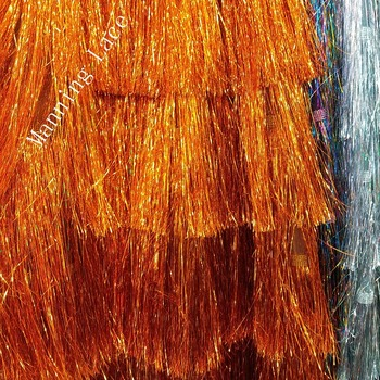 2018 latest Swiss Wedding/evening dress fabric,glittering light material,African fringed lace,3 colors of orange/Brown/rosy