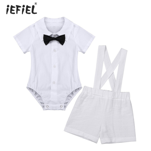 4fad879d1 Infant Baby Boys Baptism Outfit Short Sleeve Lapel Romper with Bowtie  Suspender Linen Short Newborn Baby Boy Clothes Baby's Sets