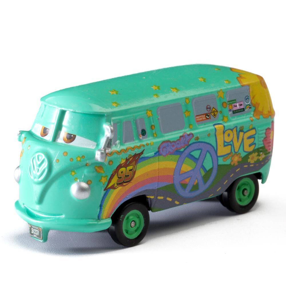 Disney Pixar Cars Fillmore Bus Lightning McQueen Mater Jackson Storm 1:55 Diecast Metal Alloy Model Toys For Children Gift