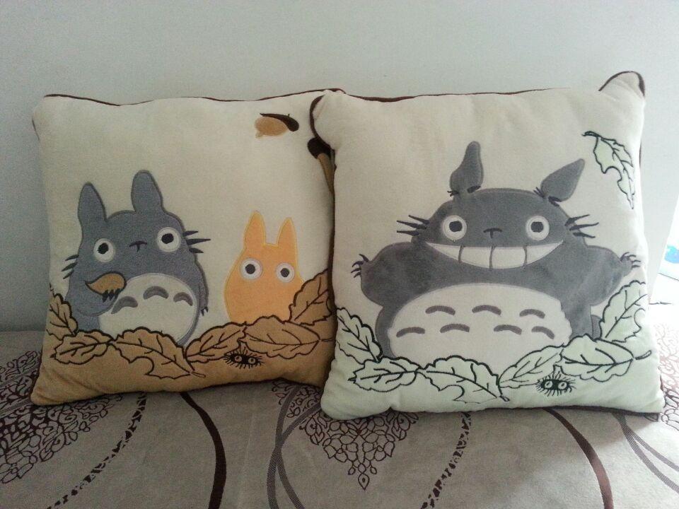 2pcs set STUDIO GHIBLI My Neighbor Totoro Printed Kawaii Cute Living Room Soft Stuffed Plush Office