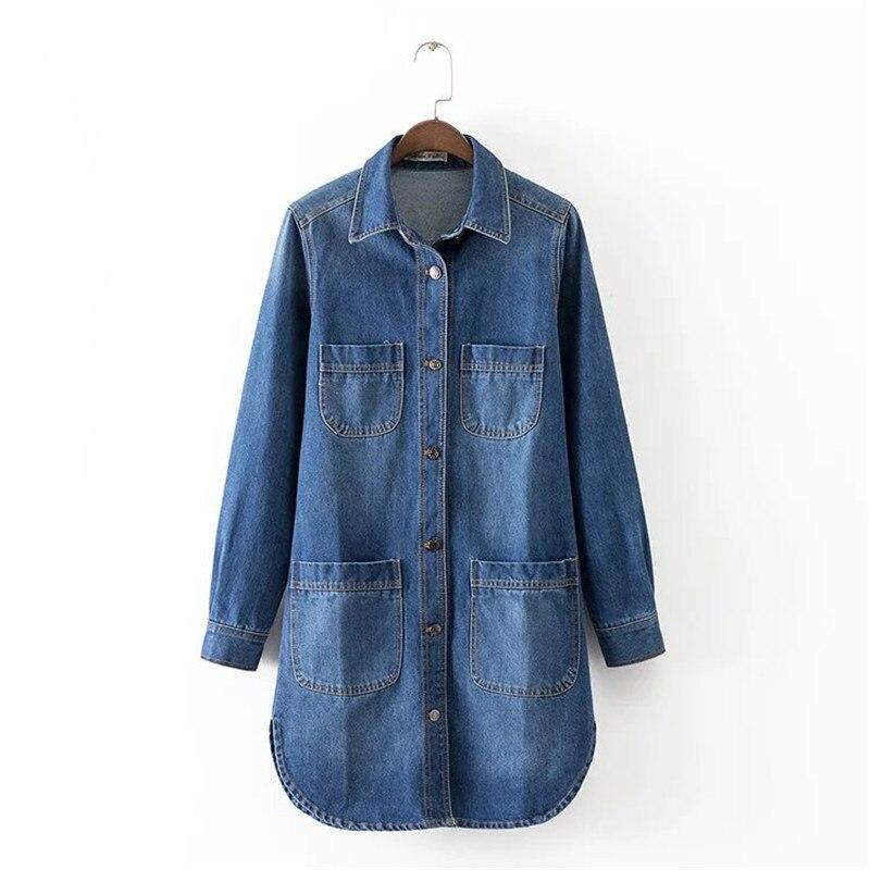 Women 4 Pockets Denim Dress Fashion Casual Single-breasted Button ...