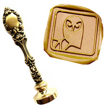 Vintage Owl On Branch Fancy Script Custom Picture Logo Luxury Wax Seal Sealing Stamp Brass Peacock Metal Handle Gift Set