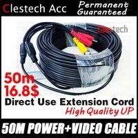Хорошее качество 50 м провода видео кабели питания камера удлиняет провода для CCTV DVR системы видеонаблюдения с BNC разъемы постоянного тока Ра...