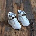 2016 Осень Новый Arrivla Детей Высокие Верхние Кожаные Ботинки Досуг Мальчики Британский Кожаные Ботинки Девушки Модные Кроссовки для Детей Сапоги