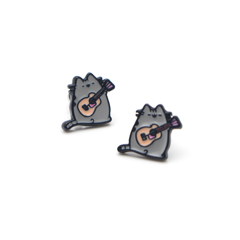 V145 1 Pair Cute Cat And Little Prince Fox Stainless Steel Pierce Ear Stud kids Earrings For Prevents Allergy Kids Gifts in Stud Earrings from Jewelry Accessories