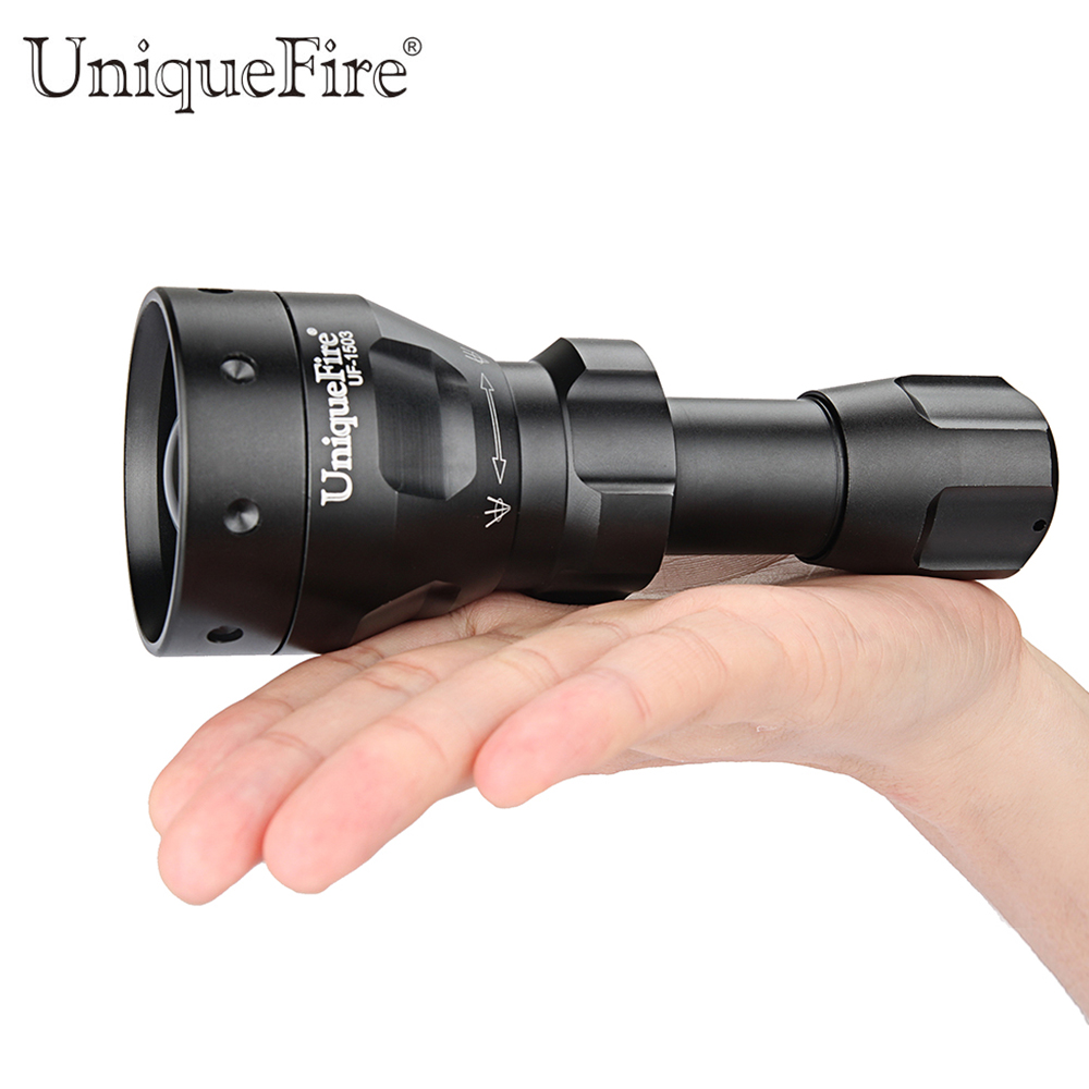 UniqueFire Black Flashlight UF-1503 IR 940nm Led Light 50mm Convex Lens Aluminum Torch Zoom 3 Modes Rechargeable Battery Lamp led hunting flashlight uniquefire green red white light uf 1503 xpe torch alumium metal for outdoor camping free shipping