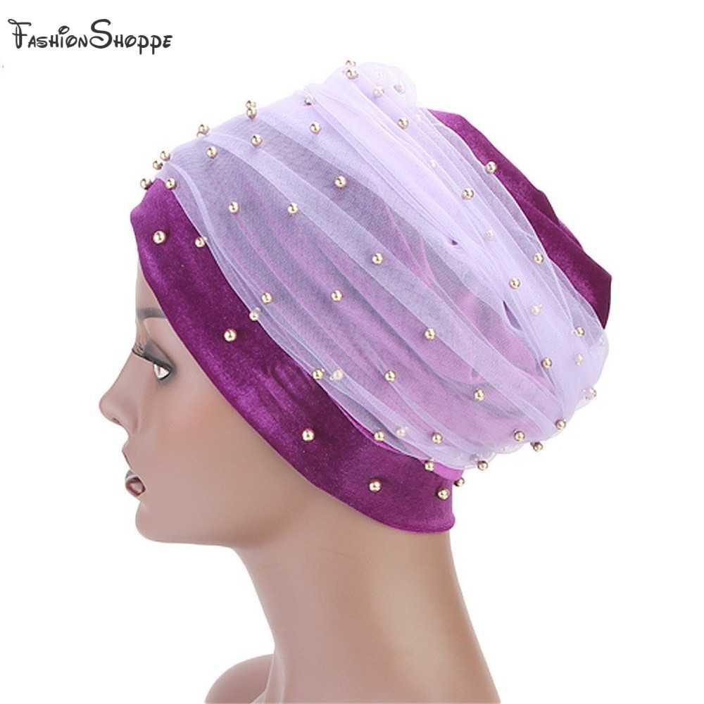 Новая мода Женская бархатная длинная тюрбан сетка лента Золотая жемчужина бархатная головная повязка в виде чалмы мусульманский хиджаб шарф тюрбант галстук головной убор YS437