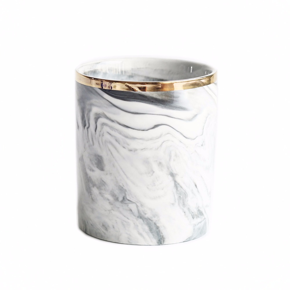Export European Ceramic hand painted gold edged marble brush pot makeup brush barrel pen container toothbrush barrel