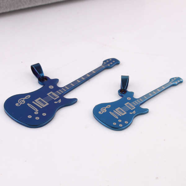 Lovers Blue guitar Musical note pendant necklaces bead chain for men women 316L Stainless Steel necklace wholesale