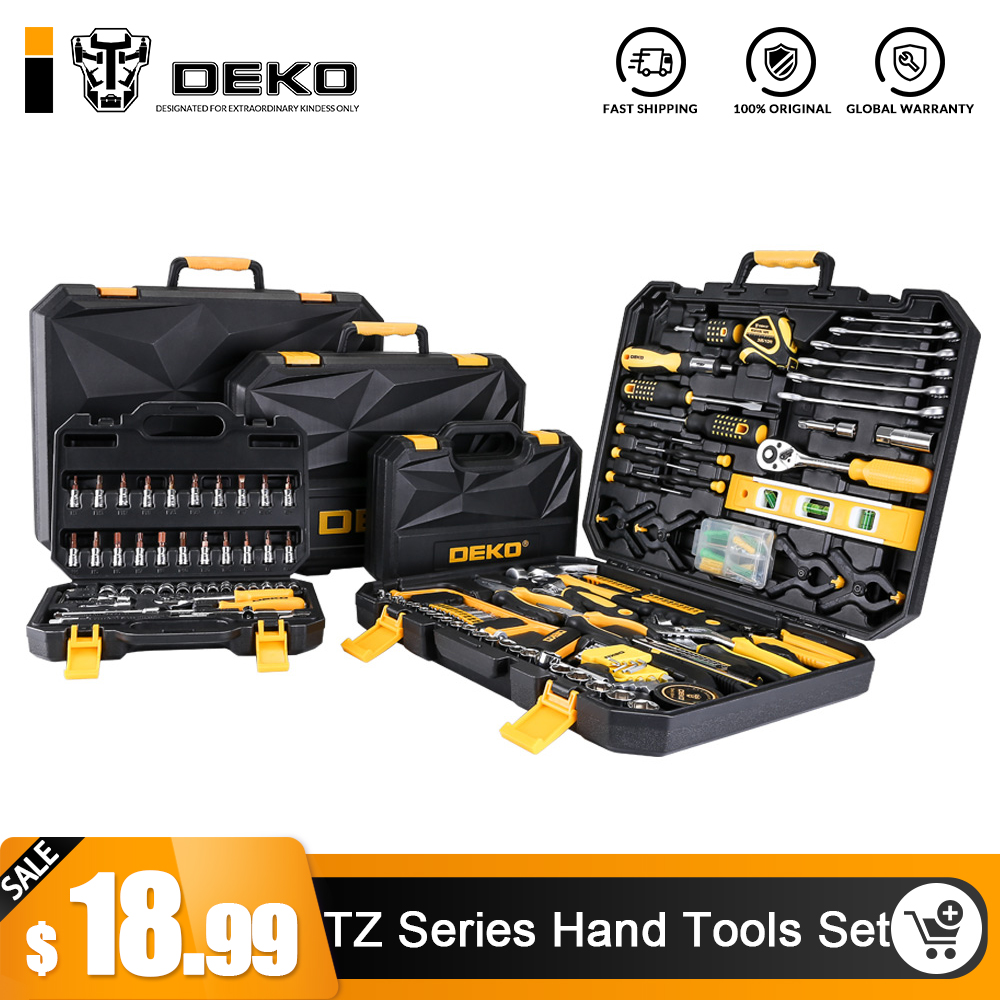 DEKO Hand Tool Set General Household Hand Tool Kit with Plastic Toolbox Storage Case Socket Wrench