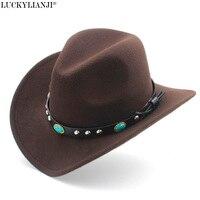 LUCKYLIANJI Wool Felt Western Cowboy Hat For Kid Child Wide Brim Cowgirl Kallaite Braid Leather Band