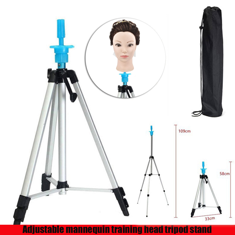 Aluminum Alloy Mannequin Head Holder Tripod Stand Adjustable Hairdressing Practice for Salon Barber HairdresserAluminum Alloy Mannequin Head Holder Tripod Stand Adjustable Hairdressing Practice for Salon Barber Hairdresser