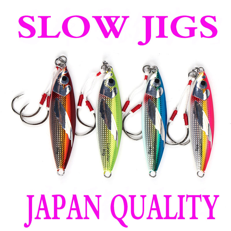 New Arrival Japan Quality Slow Jigging Lures Lead Fish With Double Hooks 40/60/80/100G Slow Jigs Saltwater Fishing Lure