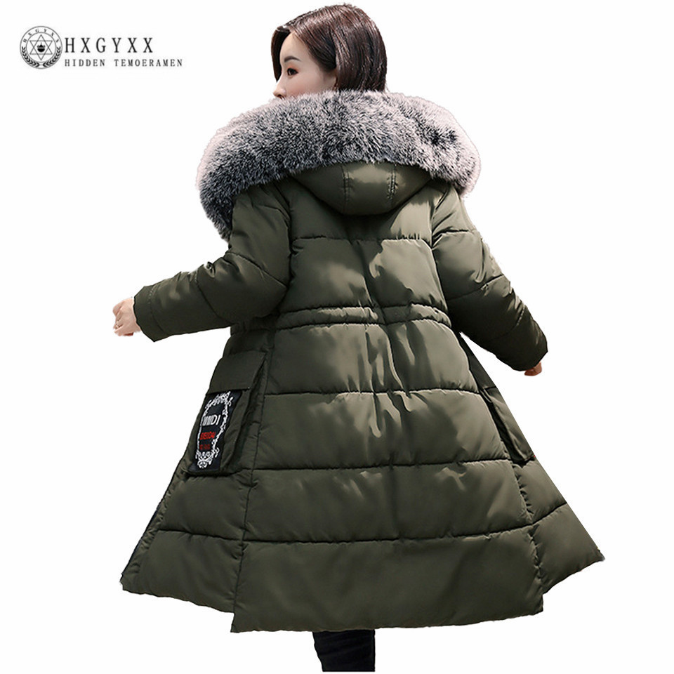 5XL Winter Jacket Women 2017 Long Fur Fashion Hooded Military Parka Plus Size Slim Warm Down Cotton Coat Wadded Outwear Oka608 casual long hooded military parka plus size winter puffer jacket women 2017 new warm ladies coats down cotton outwear oka594