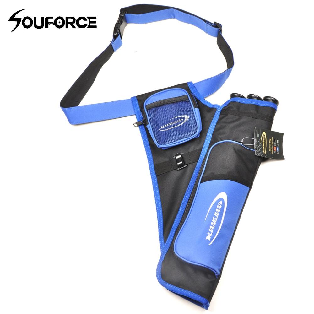Arrow Quiver 3 Tubes Waist Belt Bag Adjustable Strap Hunting Archery Length 55cm