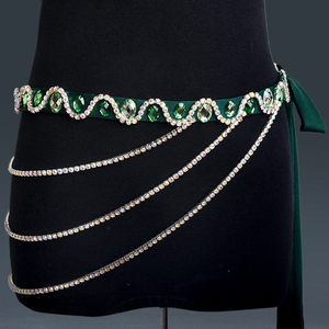 Image 4 - Belly Dance Accessories Women Handmade Rhinestones Waist Chain Belly Dance Costumes Hip Belt Chain Women Jewelry