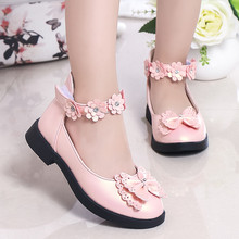 Kids Shoes Girl Princesses Flower White Leather Waterproof Soft Children Wedding