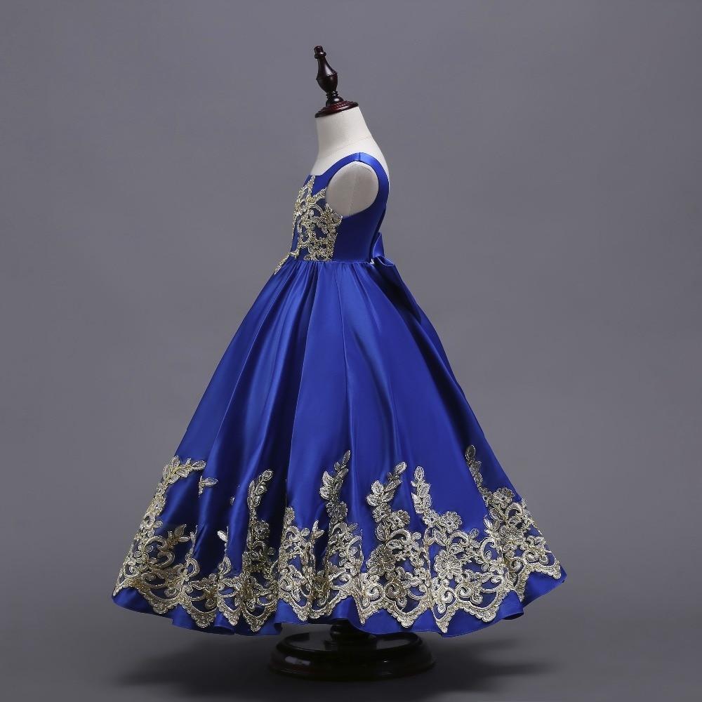 backlackgirl Blue Flower Girl Dress 2018 Appliqued Cutton Kid ...