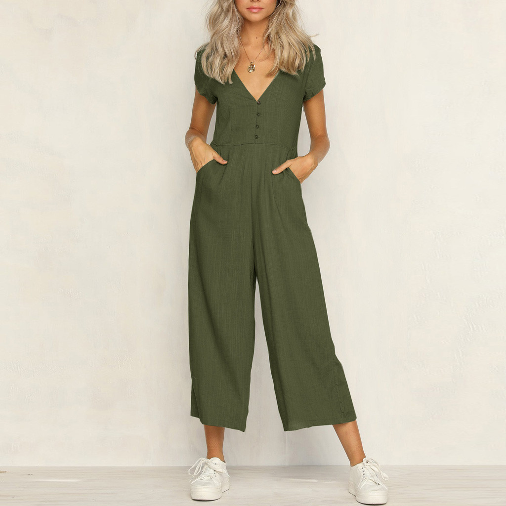 Rompers Womens Jumpsuit Cotton Linen Solid Color Short-sleeved V-neck Casual Jumpsuit mono mujer largo elegante