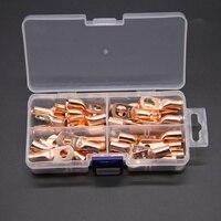 40 pçs sortimento fio anel de cobre friso terminais talões cabo de bateria fechado termina kit de conectores de fio desencapado