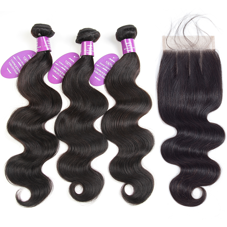 QueenLike Hair Products 3 Peruvian Body Wave Bundles With Closure Color 1B Non Remy Real Human