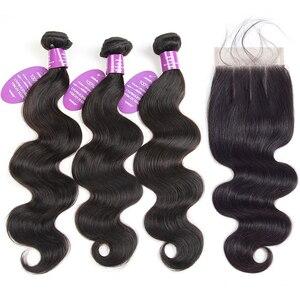 QueenLike Haar Producten 3 Peruaanse Body Wave Bundels Met Sluiting Kleur 1B Niet Remy Echt Menselijk Haar Bundels Met Sluiting