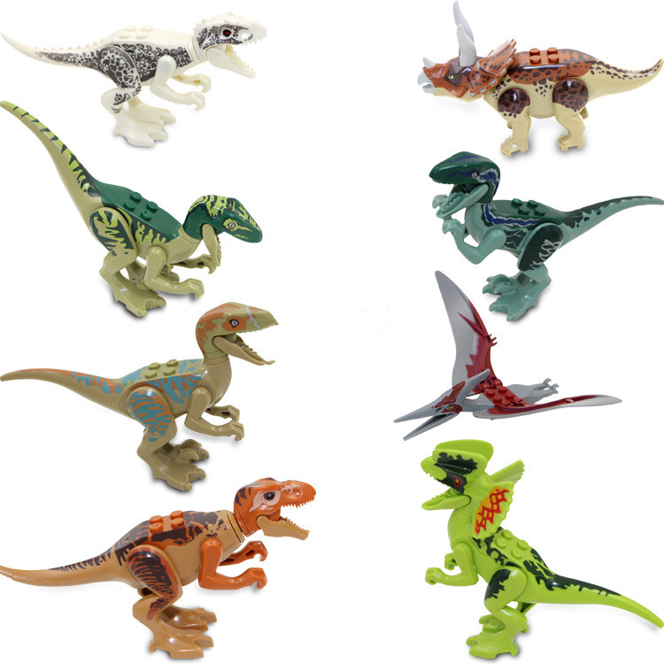 8PCS Pack Dinosaur Building Blocks Figures Animal Building Blocks Toys Kids Creative Building Bricks Set JM66