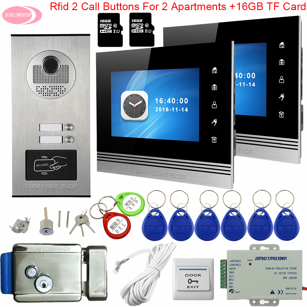 For 2/3 /4/6 Apartments 7inch Color Video Intercom With Recording +16GB TF Card RFID Doorbell With Camera + Electronic Door Lock