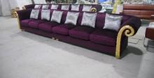 El nuevo europea sólida madera sala sofá muebles muebles de madera maciza de tela de franela asiento sofá 6-seater